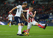 9th December 2017, Wembley Stadium, London England; EPL Premier League football, Tottenham Hotspur versus Stoke City; Ryan Shawcross, the Stoke City captain challenges Harry Kane of Tottenham Hotspur
