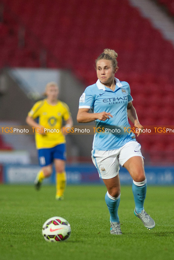 opening goal scorer Isobel Christiansen (Man City Women)<br /> Doncaster Rovers Belles vs Manchester City Women, FA Womens Super League Continental Tyres Cup Football at the Keepmoat Stadium, Stadium Way, Doncaster, West Riding of Yorkshire on 23/07/2015 - MANDATORY CREDIT: Mark Hodsman/TGSPHOTO