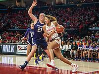 COLLEGE PARK, MD - JANUARY 26: Shakira Austin #1 of Maryland runs past Abbie Wolf #21 of Northwestern during a game between Northwestern and Maryland at Xfinity Center on January 26, 2020 in College Park, Maryland.