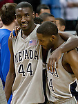March 3, 2012:   Nevada Wolf Pack senior Dario Hunt (44) gets an embrace from teammate Deonte Burton after his last game at Lawlor Events Center against the Louisiana Tech Bulldogs  on Saturday night in Reno, Nevada.