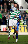 St Johnstone v Celtic..30.10.10  .Georgios Samaras holds off Michael Duberry.Picture by Graeme Hart..Copyright Perthshire Picture Agency.Tel: 01738 623350  Mobile: 07990 594431
