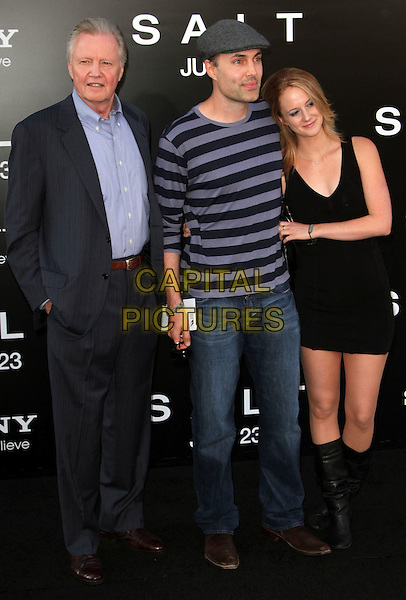 """JON VOIGHT,  JAMES HAVEN & guest .""""Salt"""" World Premiere held at The Grauman Chinese Theatre, Hollywood, CA, USA, 19th July 2010..full length striped sunglasses suit family father son dad blue shirt jeans top sweater jacket hand in pocket knee high boots .CAP/ADM/KB.©Kevan Brooks/AdMedia/Capital Pictures."""