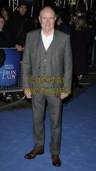 Jim Broadbent.'The Iron Lady' European Film Premiere at BFI cinema, Southbank, London, England..4th January 2012.full length grey gray jacket suit white shirt waistcoat glasses .CAP/CAN.©Can Nguyen/Capital Pictures.
