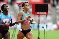 Anne Zagre of Belarus and Katarina Johnson-Thompson of Great Britain compete in the womenís 100 metres hurdles hurdles and  during the Muller Anniversary Games at The London Stadium on 9th July 2017