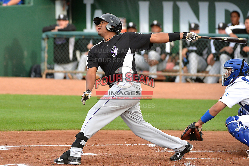 Henry Garcia (44) of the Grand Junction Rockies at bat against the Ogden Raptors during Opening Night of the Pioneer League Season on June 16, 2014 at Lindquist Field in Ogden, Utah. (Stephen Smith/Four Seam Images)