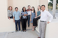 Occidental College new faculty, from left, Aleksandra Sherman, Assistant Professor, Cognitive Science, Jeffrey Cannon '07, Assistant Professor, Chemistry, Treena Basu, Assistant Professor, Mathematics, Ari Laskin, Assistant Professor, Art History & Visual Arts, Jane Hong, Assistant Professor, History, Marcella Raney '01, Assistant Professor, Kinesiology, Sophal Ear, Associate Professor, Diplomacy & World Affairs. Photographed Sept. 17, 2014.<br />
