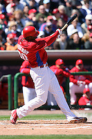 March 4, 2010:  Outfielder John Mayberry Jr. of the Philadelphia Phillies during a Spring Training game at Bright House Field in Clearwater, FL.  Photo By Mike Janes/Four Seam Images