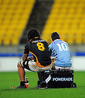 Former teammates Rodney So'oialo and David Holwell unwind after the match. ITM Cup rugby union - Wellington Lions v Northland at Westpac Stadium, Wellington, New Zealand on Saturday, 28 August 2010. Photo: Dave Lintott/lintottphoto.co.nz