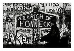 "Graffiti on the western side of the Berlin Wall announcing ""Erich Honnecker RPI"", West Berlin, November 1989. Erich Honecker (1912-1994) was the Head of State of East Germany from 1976 to 1989. In 1961 as Central Committee secretary for security Honecker was in charge of the building of the Berlin Wall in 1961. Photograph copyright Graham Harrison."