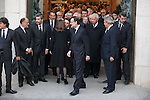 Spanish prime minister Mariano Rajoy, former presidents Jose Maria Aznar, Felipe Gonzalez and Jose Luis Rodriguez Zapatero leave the state funeral for former Spanish prime minister Adolfo Suarez at the Almudena Cathedral in Madrid, Spain. March 31, 2014. (ALTERPHOTOS/Victor Blanco)