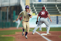 Daniel Walsh (19) of the Western Carolina Catamounts hustles towards home plate against the Saint Joseph's Hawks at TicketReturn.com Field at Pelicans Ballpark on February 23, 2020 in Myrtle Beach, South Carolina. The Hawks defeated the Catamounts 9-2. (Brian Westerholt/Four Seam Images)