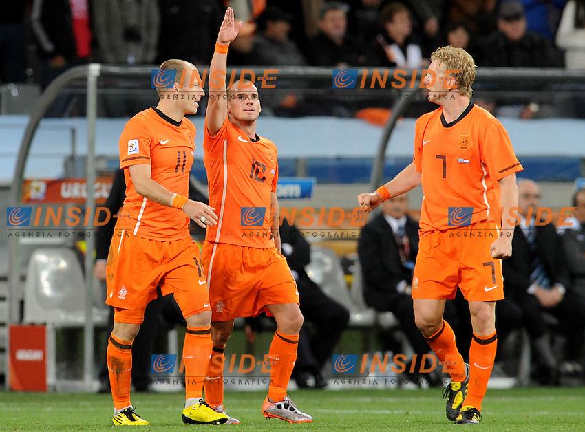 Esultanza di Wesley Sneijder (Olanda) per il suo gol<br /> Uruguay Olanda - Uruguay vs Netherlands<br /> Semifinale - Semifinal<br /> Campionati del Mondo di Calcio Sudafrica 2010 - World Cup South Africa 2010<br /> Green Point Stadium, Cape Town  06/07/2010<br /> &copy; Giorgio Perottino / Insidefoto