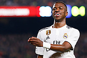 6th February 2019, Camp Nou, Barcelona, Spain; Copa del Rey football semi final, 1st leg, Barcelona versus Real Madrid; Vinicius Jr of Real Madrid smiles after losing control of the ball