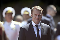 Pictured: French President Emmanuel Macron outside the Presidential Mansion in Athens, Greece. Thurday 07 September 2017<br /> Re: The official welcome of French President Emmanuel Macron for his state visit to Athens, Greece.