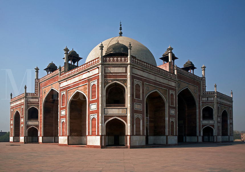HUMAYUN'S TOMB was built of white marble and red sandstone in 1565 and is a fine example of MUGHAL architecture - NEW DELHI, INDIA