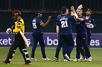 Jamie Porter of Essex is congratulated by his team mates after taking the wicket of Johann Myburgh during Essex Eagles vs Somerset, NatWest T20 Blast Cricket at The Cloudfm County Ground on 13th July 2017