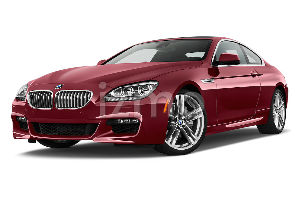 Low aggressive front three quarter view of a 2014 BMW 6 Series Coupe
