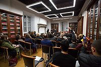 """Biblioteca di Storia Moderna e Contemporanea.<br /> <br /> Rome, 27/01/2020. Today is the International Holocaust Day, also called Holocaust Memorial Day in UK & Italy. A day designated by the UN General Assembly resolution 60/7 on 1 November 2005 to remember the victims of the Holocaust: 6 million Jews, 2 million Gypsies (Roma & Sinti), 15,000 homosexual people, and millions of others killed by the Nazi regime and its collaborators. The 27th of January (1945) marks the day of the liberation by the Soviet Union Army of the largest death camp, Auschwitz-Birkenau (75th Anniversary). To coincide with the Holocaust Memorial Day the Theater and Kunst Diletta Benincasa Foundation - Berlin (1.), supported by the Biblioteca di Storia Moderna e Contemporanea (Palazzo Mattei), promoted the event called """"Displaced"""" curated by Patrizia Bisci (2.). From the organizers press release: «The project unfolds in a path inside the old ghetto of Rome and materializes in installations, works and performances. […] the world of experiences and experimentation of the artists will thus become the ideal basis for understanding collective history. In fact, """"Displaced persons"""", a historical name with both positive and negative value, is the theme in memory of the history of Europe, when at the end of the Second World War the extermination camps were freed by the armies of the allies. Eleven million prisoners, among whom only a few thousand surviving Jews, no longer knew where to return. The houses, their lives were destroyed, occupied by others. Where to return? […]».<br /> <br /> Footnotes & Links:<br /> 1. http://bit.do/fqRC2<br /> 2. http://bit.do/fqRCF<br /> Nel Giorno Della Memoria (Source, Treccani.it) http://bit.do/fqRG5<br /> 27.01.19 Holocaust Memorial Day 2019 - Never Forget - Witnesses Of Witnesses http://bit.do/fqRXh"""