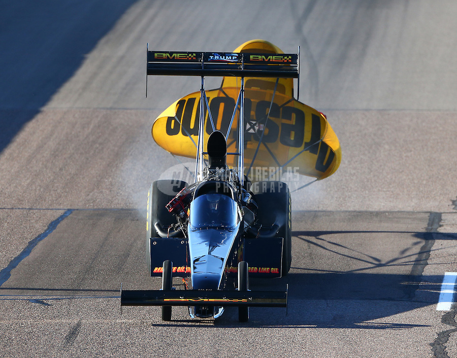 Feb 26, 2016; Chandler, AZ, USA; NHRA top fuel driver Troy Buff during qualifying for the Carquest Nationals at Wild Horse Pass Motorsports Park. Mandatory Credit: Mark J. Rebilas-