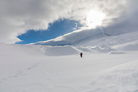 Back country cross country skiing in the Miller Creek drainage in the Alaska Range mountains.