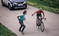 Vincenzo Nibali (ITA/Bahrain-Merida) trying to score a bidon atop the Col du Pr&eacute; from his former team's soigneur<br /> <br /> Stage 6: Frontenex &gt; La Rosi&egrave;re Espace San Bernardo (110km)<br /> 70th Crit&eacute;rium du Dauphin&eacute; 2018 (2.UWT)