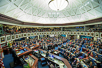 TALLAHASSEE, FLA. 11/22/16-Rep. Joe Gruters, R-Sarasota, left, Rep. Rick Roth, R-Loxahatchee, Rep. Joseph Abruzzo, D-Palm Beach, Rep. Michael Grant, R-Charlotte, and Byron Donalds, R-Naples, take the oath of office from Judge Nicholas Thompson during the organizational session of the legislature zat the Capitol in Tallahassee.<br /> <br /> COLIN HACKLEY PHOTO