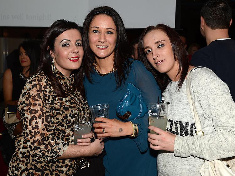 Carol Dixon, Simone Lambe and Niamh Tallon at the White Collar Boxing in City North Hotel. Photo:Colin Bell/pressphotos.ie