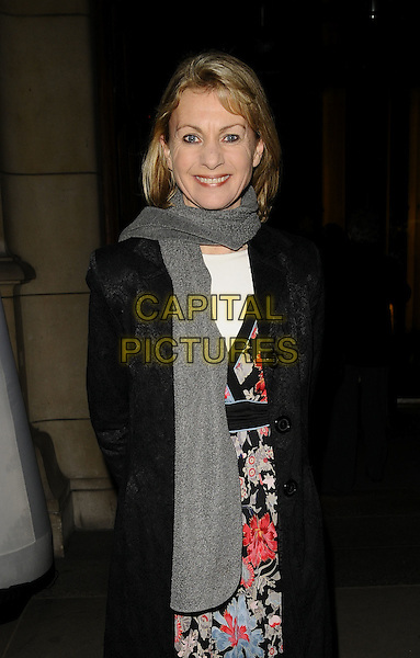 KATE MOSSE.The Orion Publishers Authors' Party, V & A Museum, Cromwell Rd., London, England..February 18th, 2009.V&A victoria albert half length black coat grey gray scarf pink red floral print dress .CAP/CAN.©Can Nguyen/Capital Pictures.