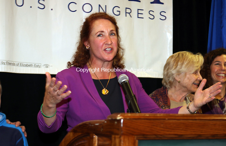 WATERBURY CT. 08 November 2016-110816SV10-Rep. Elizabeth H. Esty, D-5th District gives her victory speech in Waterbury Tuesday.<br /> Steven Valenti Republican-American