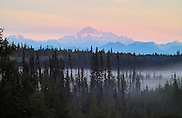 Mt. McKinley seen at dawn from the south, near the community of Petersville, Alaska, very early on a summer day.