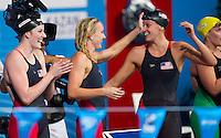 Team USA gold medal<br /> Women's 4x100m medley relay final<br /> Swimming<br /> 15th FINA World Aquatics Championships<br /> Palau Sant Jordi, Barcelona (Spain) 04/08/2013 <br /> © Giorgio Perottino / Deepbluemedia.eu / Insidefoto
