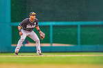 1 April 2013: During a short period of rain, Miami Marlins second baseman Donovan Solano in action during the Opening Day Game against the Washington Nationals at Nationals Park in Washington, DC. The Nationals shut out the Marlins 2-0 to launch the 2013 season. Mandatory Credit: Ed Wolfstein Photo *** RAW (NEF) Image File Available ***