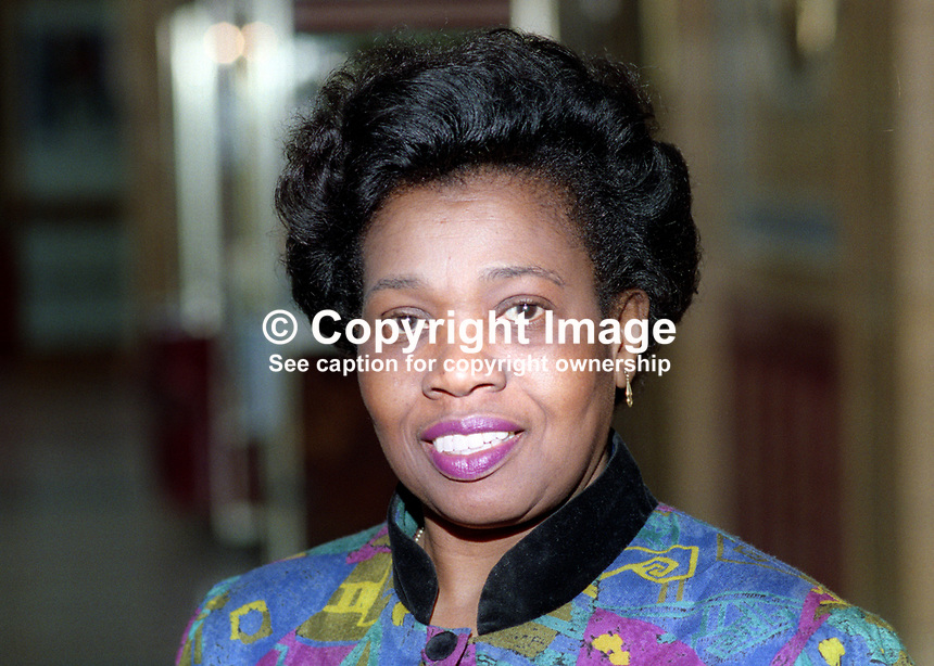 Lurline Champagnie, councillor, Conservative Party,  Harrow West, UK, annual conference, Blackpool, 1993, 199310025398<br /> <br /> Copyright Image from Victor Patterson, 54 Dorchester Park, <br /> Belfast, UK, BT9 6RJ<br /> <br /> t1: +44 28 9066 1296 (from Rep of Ireland 048 9066 1296)<br /> t2: +44 28 9002 2446 (from Rep of Ireland 048 9002 2446)<br /> m: +44 7802 353836<br /> <br /> e1: victorpatterson@me.com<br /> e2: victorpatterson@gmail.com<br /> <br /> www.victorpatterson.com<br /> <br /> Please see my Terms and Conditions of Use at VICTORPATTERSON.COM. It is IMPORTANT that you familiarise yourself with them.<br /> <br /> Images used on the Internet must be visibly watermarked i.e. &copy;VICTORPATTERSON.COM within the body of the image and copyright metadata must not be deleted. Images used on the Internet have a size restriction of 4kbs and are chargeable at the then current NUJ rates.<br /> <br /> This image is only available for the use of the download recipient i.e. television station, newspaper, magazine, book publisher, etc, and must not be passed on to any third party. It is also downloaded on condition that each and every usage is notified within 7 days to victorpatterson@me.com<br /> <br /> The right of Victor Patterson to be identified as the author is asserted in accordance with The Copyright Designs And Patents Act (1988).