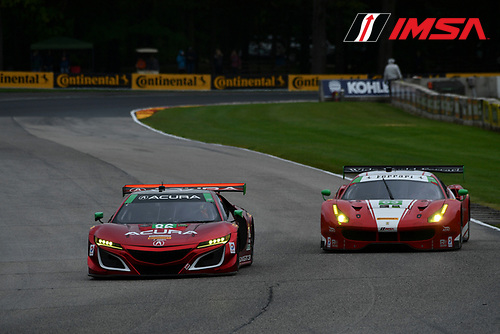 IMSA WeatherTech SportsCar Championship<br /> Continental Tire Road Race Showcase<br /> Road America, Elkhart Lake, WI USA<br /> Friday 4 August 2017<br /> 86, Acura, Acura NSX, GTD, Oswaldo Negri Jr., Jeff Segal, 63, Ferrari, Ferrari 488 GT3, GTD, Alessandro Balzan, Christina Nielsen<br /> World Copyright: Richard Dole<br /> LAT Images<br /> ref: Digital Image DSC_5794