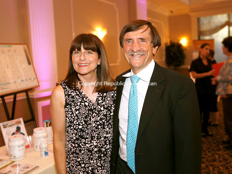 Waterbury, CT- 15 September 2016-091516CM11-  Social moments, from left Sharon Zilahy, board member with the Spirit of Women foundation and her husband Dr. Peter Zilahy are photographed during a Spirit of Women dinner at La Bella Vista in Waterbury on Thursday.     Christopher Massa Republican-American