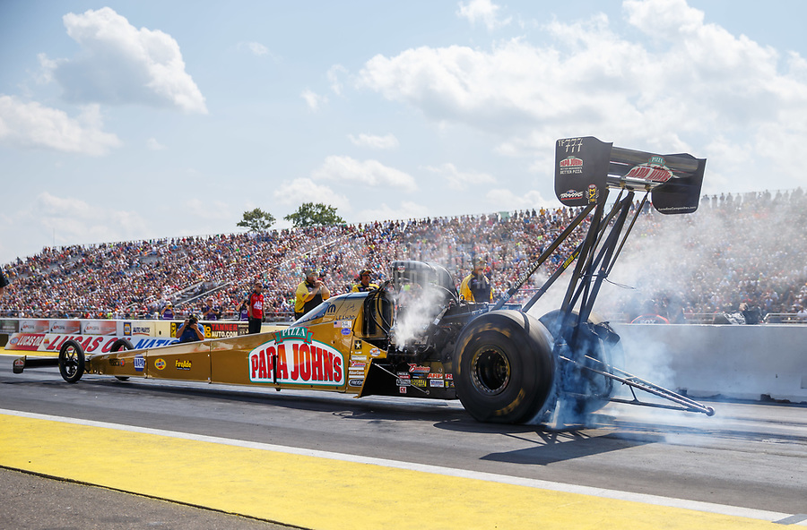Aug 19, 2017; Brainerd, MN, USA; NHRA top fuel driver Leah Pritchett during qualifying for the Lucas Oil Nationals at Brainerd International Raceway. Mandatory Credit: Mark J. Rebilas-USA TODAY Sports