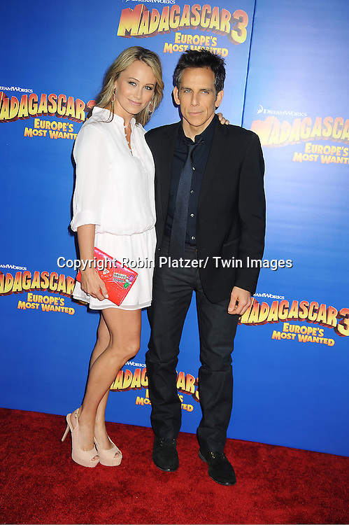 "Ben Stiller and wife Christine Taylor attends the ""Madagascar 3:  Europe's Most Wanted""  New York Premiere on June 7, 2012 at The Ziegfeld Theatre in New York City."
