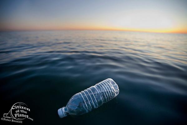 Plastic Water Bottle Floating in Pacific Ocean, Santa Monica, California, USA