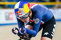 Picture by Alex Whitehead/SWpix.com - 03/03/2018 - Cycling - 2018 UCI Track Cycling World Championships, Day 4 - Omnisport, Apeldoorn, Netherlands - Chloe Dygert on her way to breaking the World Record during the Women's Individual Pursuit qualifying.