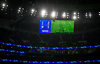 Scoreboard at full time during the UEFA Champions League group match between Tottenham Hotspur and Bayern Munich at Wembley Stadium, London, England on 1 October 2019. Photo by Andy Rowland.