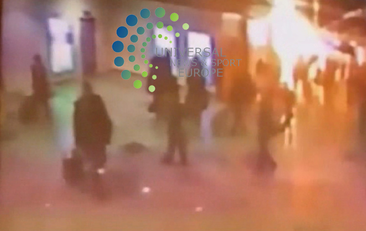 CCTV images of the blast at Domodedovo airport.<br /> Dmitry Medvedev spoke out the day after a bomber detonated an estimated 7kg (15lb) of TNT at Domodedovo airport, killing 35 people and injuring 110.<br /> He blamed airport officials for &quot;clear security breaches&quot;, and called for sackings if negligence was proved.<br /> Militant groups from the North Caucasus are suspected of planning the attack.<br /> Speaking to security officers in televised remarks, Mr Medvedev said terrorism was the most serious threat facing Russia today.<br /> He called for those responsible to be hunted down and their organisations &quot;eliminated&quot;.<br /> Prime Minister Vladimir Putin also took a hard line, saying that &quot;retribution is inevitable&quot;.<br /> Picture:Universal News And Sport (Europe) .25 January2010..