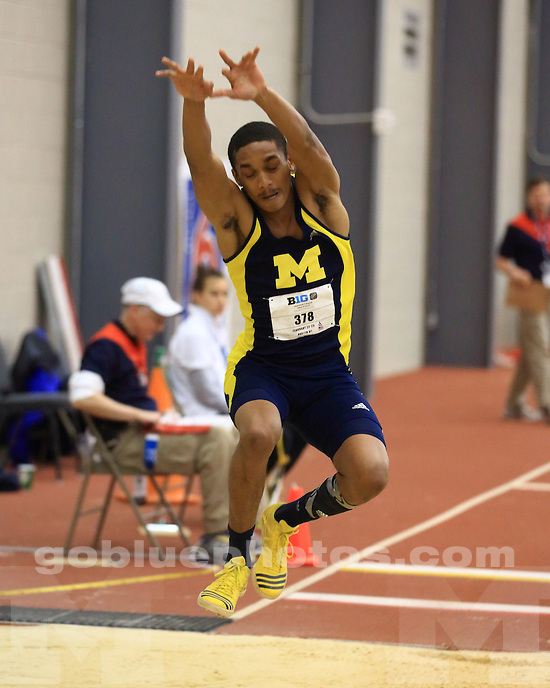 The University of Michigan men's track and field team finished day one in 5th place at the Big Ten Indoor Championships at the SPIRE Institute in Geneva, Ohio, on February 22, 2012.