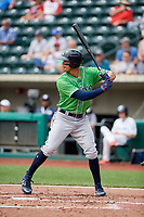 Gwinnett Stripers left fielder Rio Ruiz (14) at bat during a game against the Columbus Clippers on May 17, 2018 at Huntington Park in Columbus, Ohio.  Gwinnett defeated Columbus 6-0.  (Mike Janes/Four Seam Images)