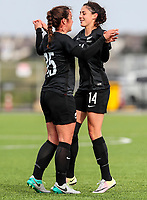 Claudia Bunge and Michaela Foster celebrate a goal. OFC U-19 Women's Championship 2017, New Zealand v Fiji, Ngahue Reserve Auckland, Tuesday 11th July 2017. Photo: Simon Watts / www.bwmedia.co.nz
