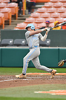 North Carolina Tar Heels pinch hitter Ben Casparius (46) swings at a pitch during a game against the Clemson Tigers at Doug Kingsmore Stadium on March 9, 2019 in Clemson, South Carolina. The Tigers defeated the Tar Heels 3-2 in game one of a double header. (Tony Farlow/Four Seam Images)