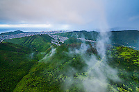 An aerial view of Palolo Valley from above the Ko'olau mMuntains, O'ahu.
