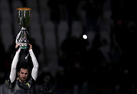 Calcio, Serie A: Juventus - Chievo Verona, Turin, Allianz Stadium, January 21, 2019.<br /> Juventus' captain Giorgio Chiellini holds the Supercoppa Italiana prior to the Italian Serie A football match between Juventus and Chievo Verona at Torino's Allianz stadium, January 21, 2019. Juventus won the Supercoppa Italiana against AC Milan in Jeddah on January 16, 2019.<br /> UPDATE IMAGES PRESS/Isabella Bonotto