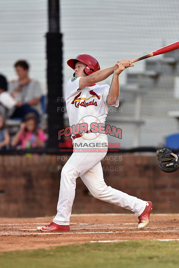 Johnson City Cardinals center fielder Shane Billings (16) swings at a pitch during Game Two of the Appalachian League Championship series against the Burlington Royals at TVA Credit Union Ballpark on September 7, 2016 in Johnson City, Tennessee. The Cardinals defeated the Royals 11-6 to win the series 2-0.. (Tony Farlow/Four Seam Images)