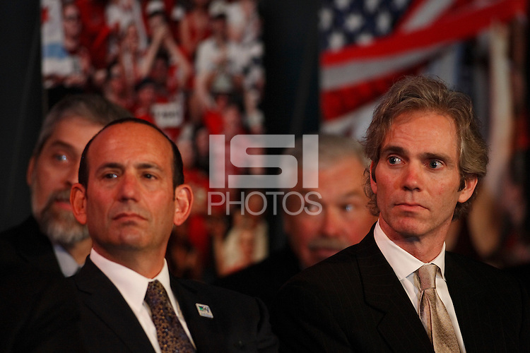 MLS commissioner Don Garber and franchise co-owner Jay Sugarman during the announcement of an MLS franchise for the city of Philadelphia at the Wharf at Rivertown in Chester, PA, on February 28, 2008.