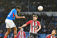 Ellis Harrison of Portsmouth left heads on goal during Portsmouth vs Altrincham, Emirates FA Cup Football at Fratton Park on 30th November 2019